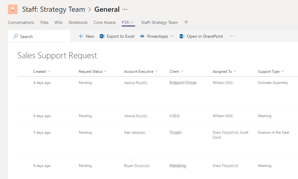 Support Request List Collaboration Example in Microsoft Teams