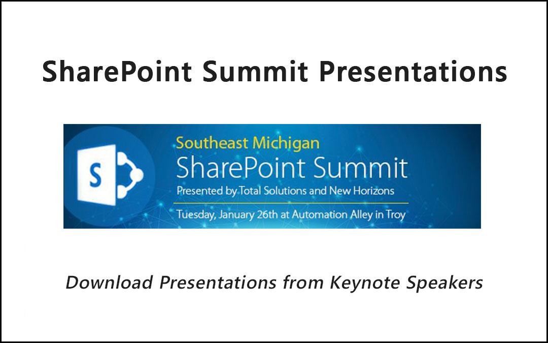 SharePoint Summit 2016 Presentations