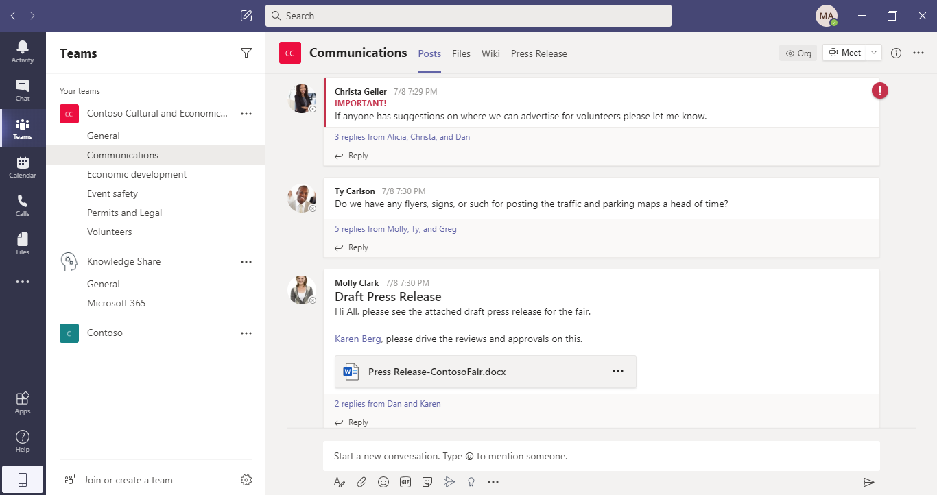 Microsoft Teams Chat Functionality