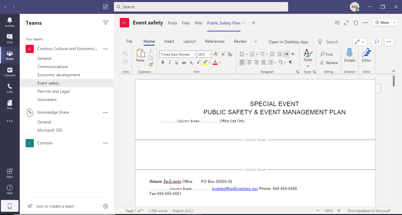 Microsoft Teams Document Collaboration