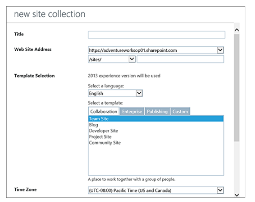 New Site Collection - SharePoint Online