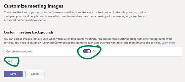 """""""Customize meeting images"""" settings for Microsoft Teams Virtual Backgrounds"""